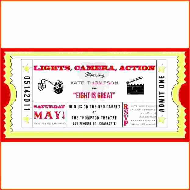 Admit One Ticket Template Word Lovely Movie Ticket Template Admit E Invitations Blank Jpg