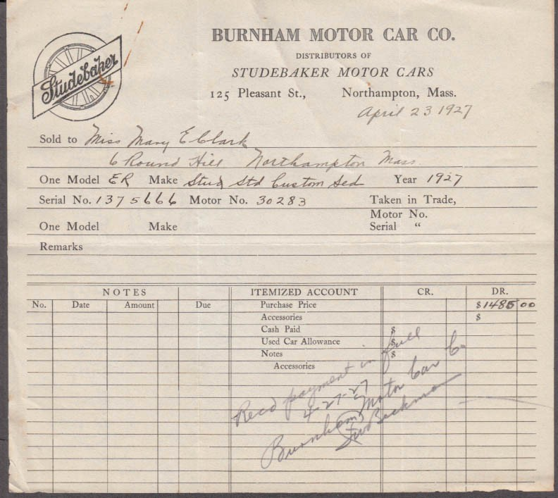 Auto Bill Of Sale Massachusetts Best Of Burnham Motor Car Co Studebaker Distributor northampton Ma