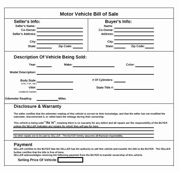 Auto Bill Of Sale Massachusetts Inspirational Car Sale Bill Sale Template Free Motor Vehicle