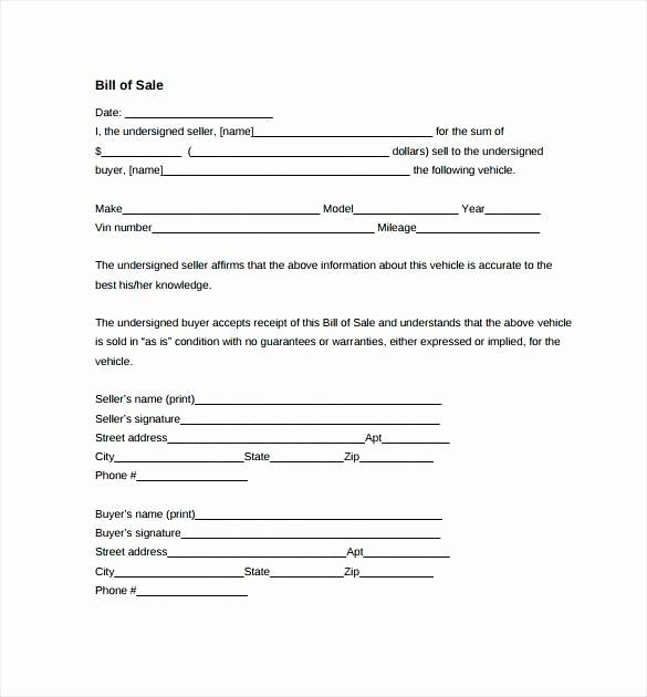 Auto Bill Of Sale Massachusetts Unique Bill Free Printable Blank Sale form Template Ma Create