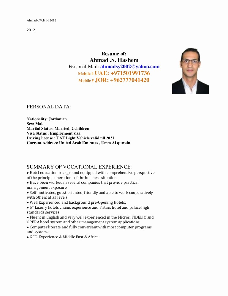 Cover Letter with Picture Template Beautiful Ahmad Hashem Cv & Covering Letter 2012 12
