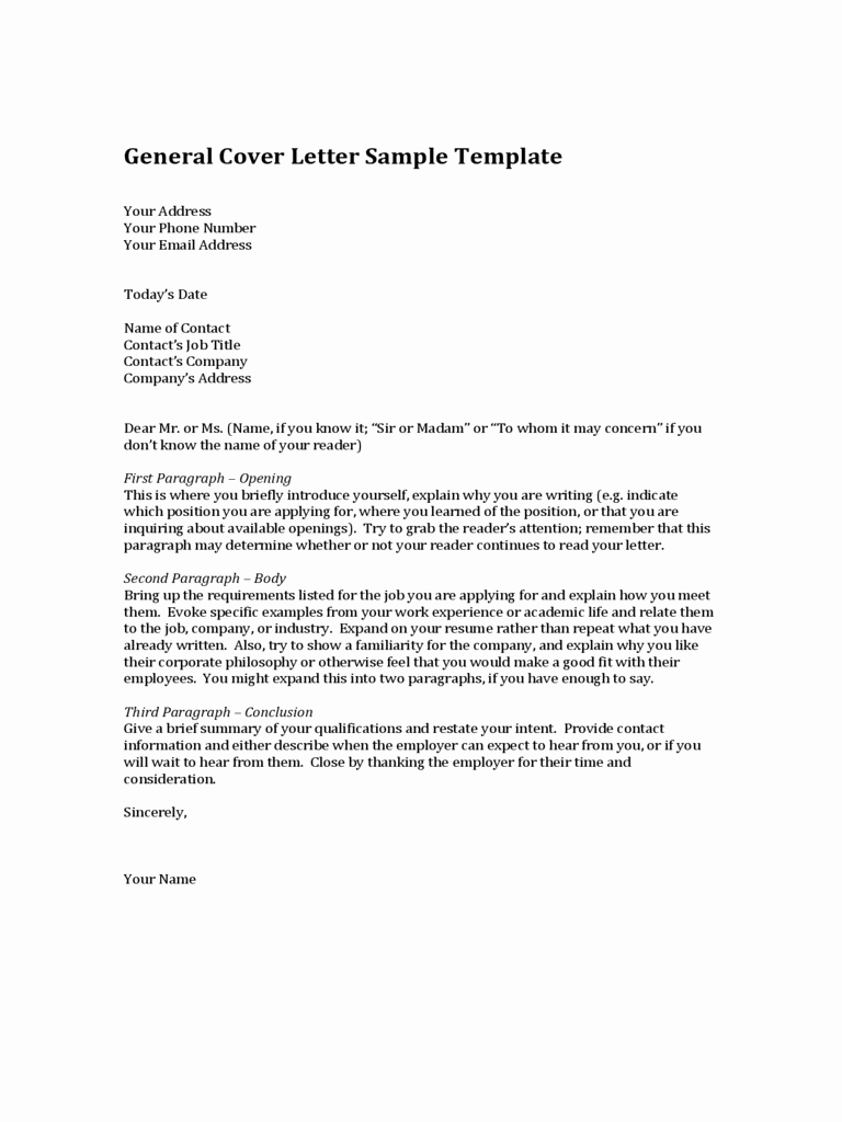 Cover Letter with Picture Template Fresh 2019 General Cover Letter Template Fillable Printable
