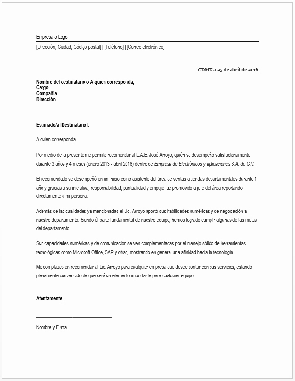Machote Carta De Recomendacion Personal Best Of Carta De Re Endación Laboral formatos Y Ejemplos