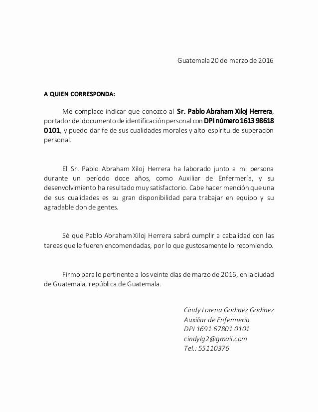 Machote Carta De Recomendacion Personal Elegant Ejemplo De Carta De Re Endacion