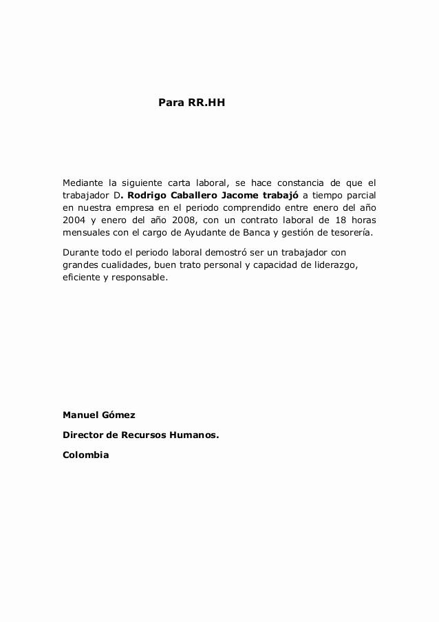 Machote Carta De Recomendacion Personal Fresh Carta De Re Endacion