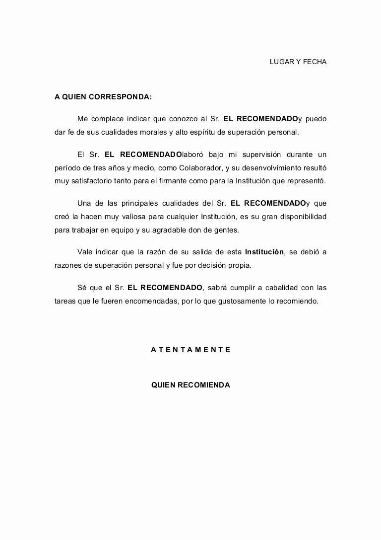 Machote Carta De Recomendacion Personal Lovely Ricardo Tejeda De Luna Ejemplo De Carta Re Endacion 3
