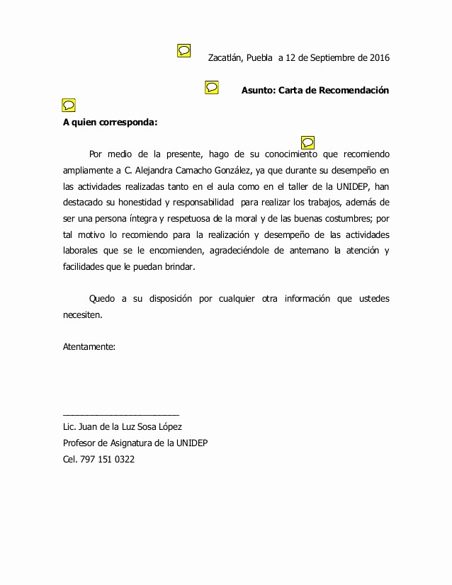 Machote Carta De Recomendacion Personal Unique Practica Carta De Re Endacion 3