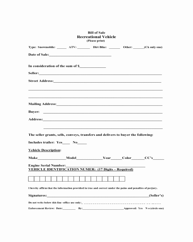 Massachusetts Car Bill Of Sale Best Of 2019 Recreational Vehicle Bill Of Sale form Fillable