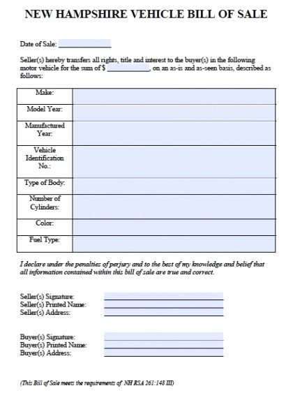 Massachusetts Car Bill Of Sale Best Of Free New Hampshire Car Vehicle Bill Of Sale form