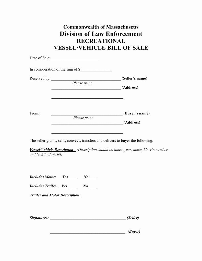 Massachusetts Car Bill Of Sale Fresh Free Massachusetts Vehicle Vessel Bill Sale form Pdf