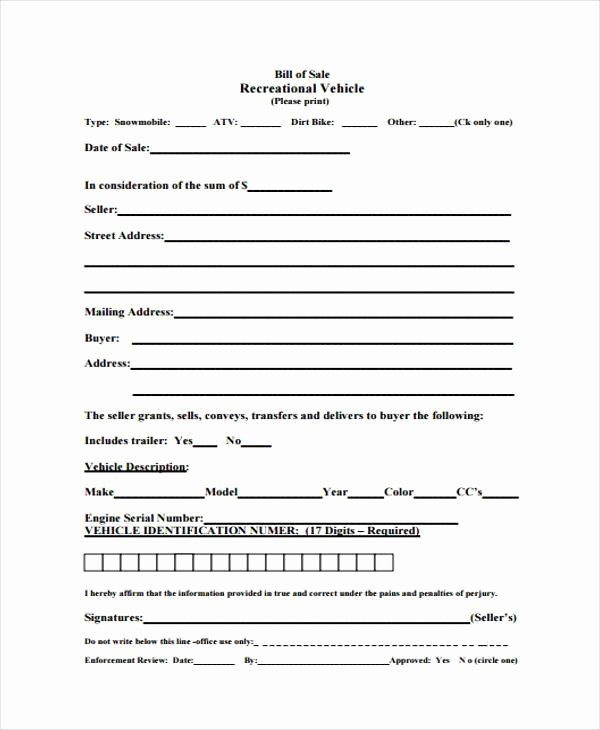 Massachusetts Car Bill Of Sale Lovely Sample atv Bill Of Sale forms 7 Free Documents In Word Pdf