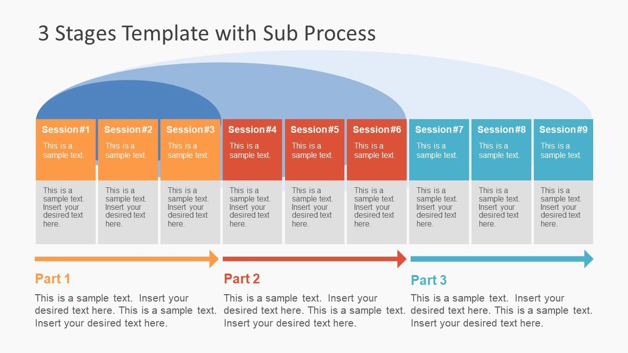 Process Flow Diagram Powerpoint Template Beautiful 3 Stages Template with Sub Process Slidemodel