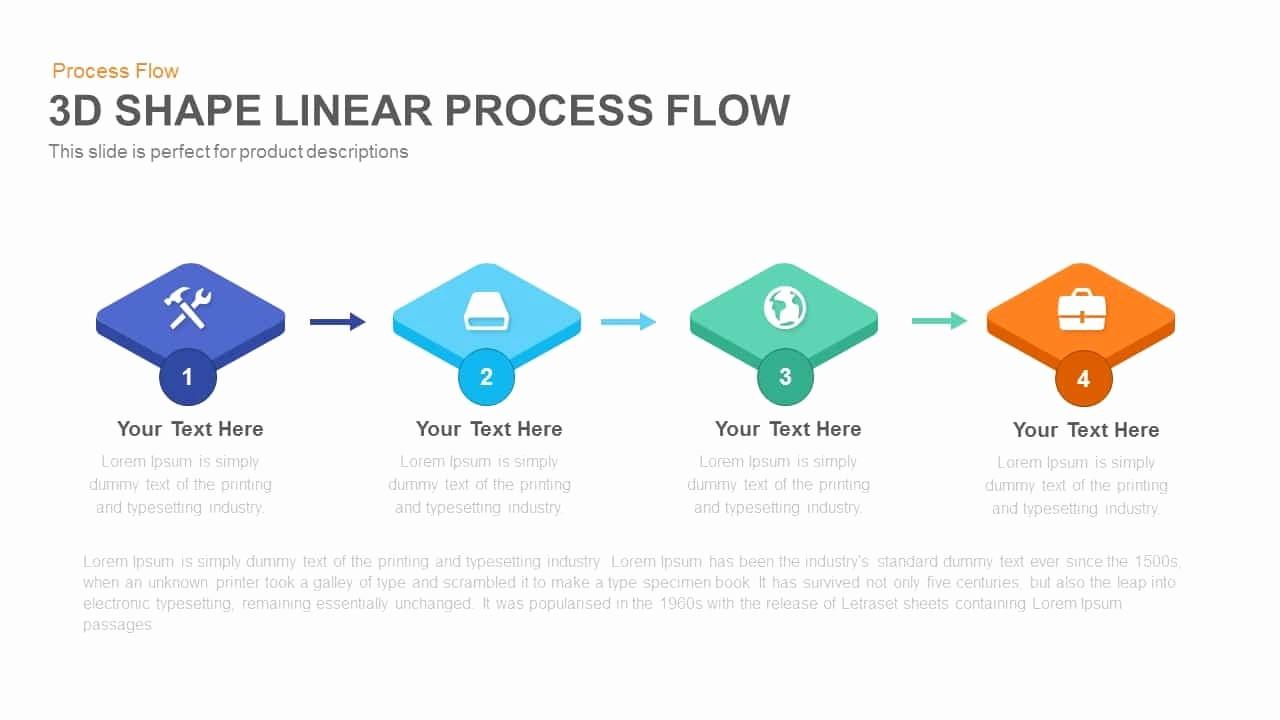 Process Flow Diagram Powerpoint Template Beautiful 3d Shape Linear Process Flow Powerpoint and Keynote