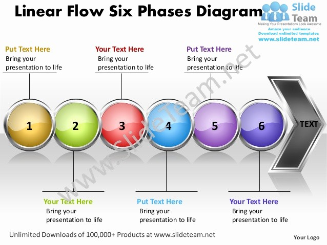 Process Flow Diagram Powerpoint Template Luxury Business Power Point Templates Linear Flow Six Phases