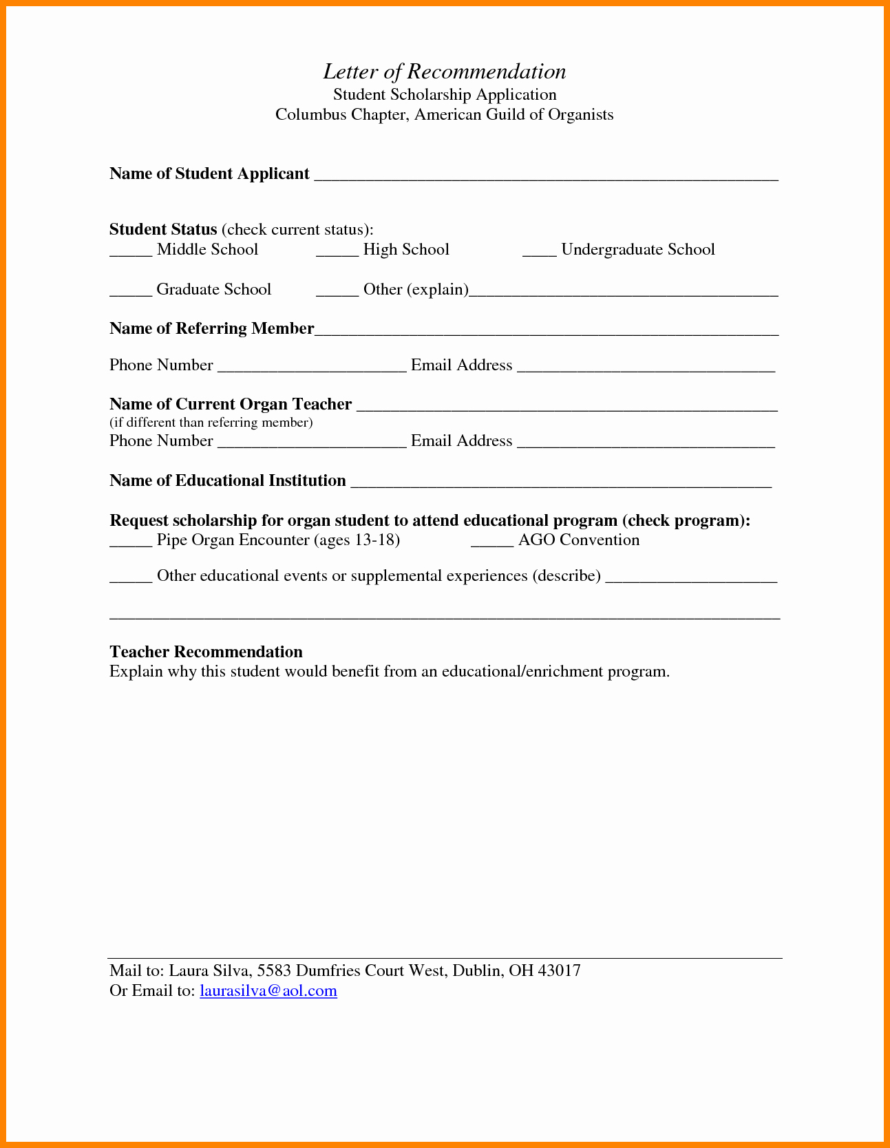 Recommendation Letter format for Student Beautiful 6 High School Letter Of Re Mendation for Scholarship