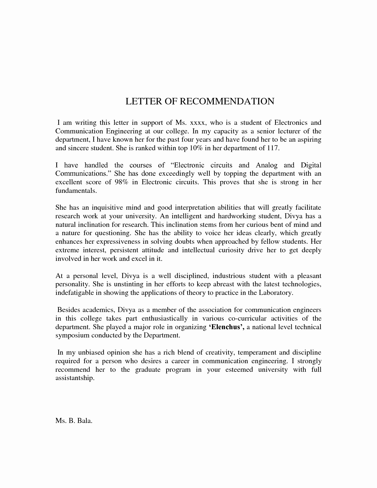Recommendation Letter format for Student Fresh Sample Letter Re Mendation for Student