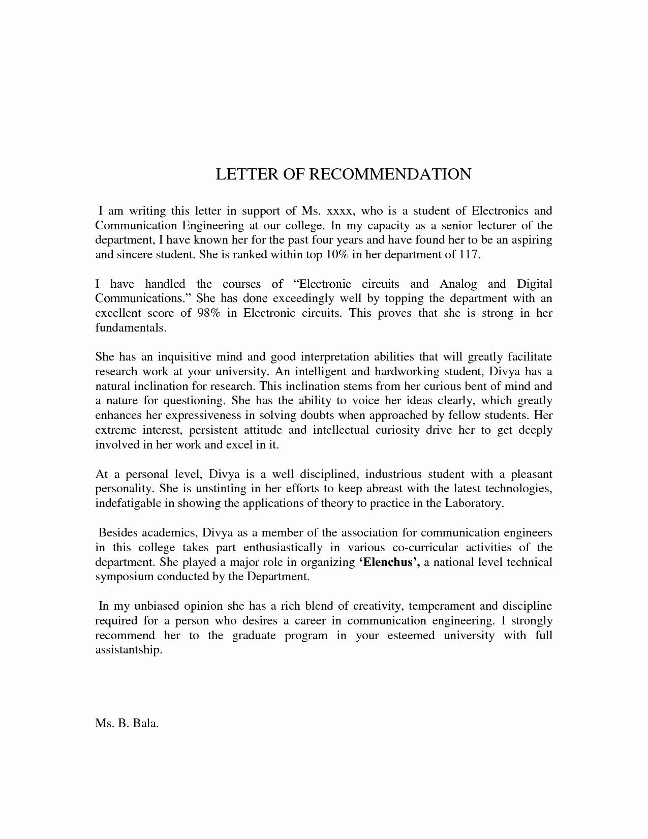 Recommendation Letter format for Student Fresh Sample Letter Re Mendation for Student
