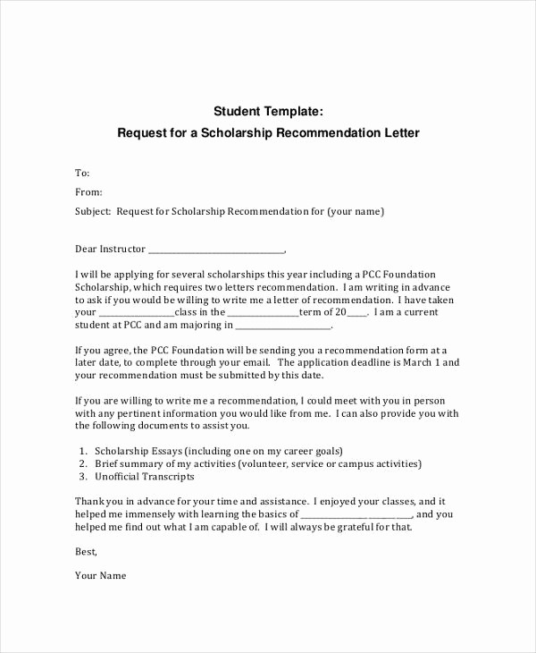 Recommendation Letter format for Student Lovely 12 Letter Of Re Mendation for Student Templates Pdf