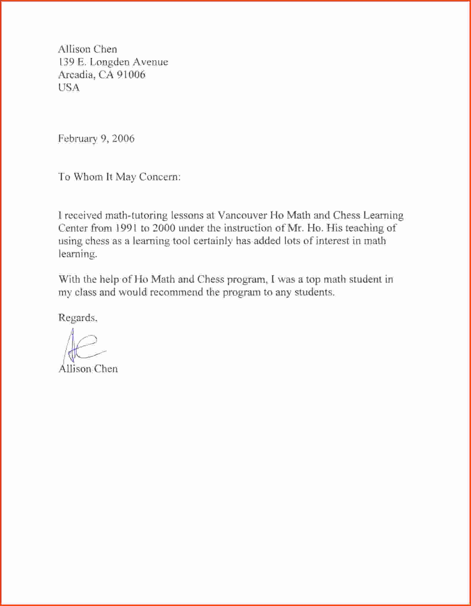 Recommendation Letter format for Student Luxury Sample Job Re Mendation Letter for Student