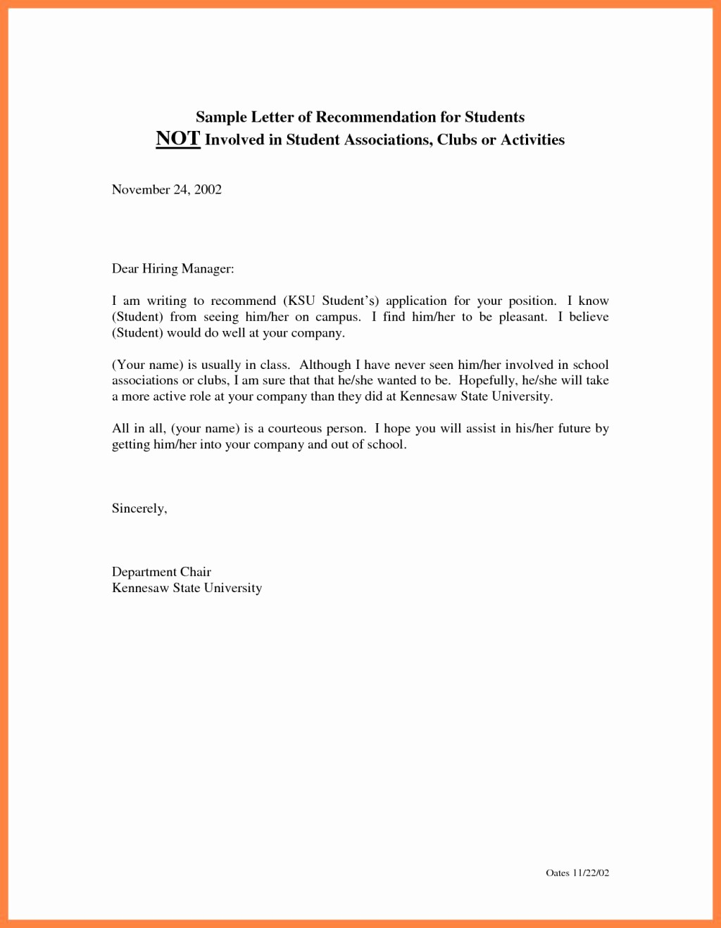 Recommendation Letter format for Student Luxury Writing Reference Letter for Student Teacher