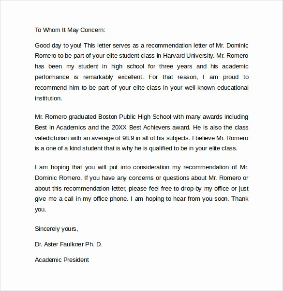 Recommendation Letter format for Student New 8 Re Mendation Letters – Samples Examples formats