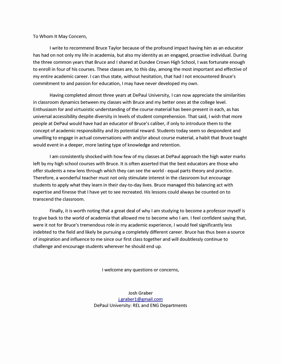 Recommendation Letter format for Student Unique Re Mendation Letter for Student – Templates Free Printable