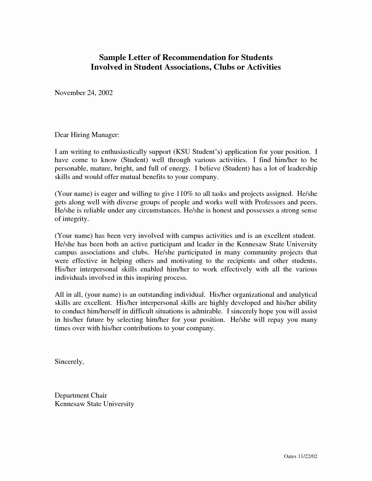 Recommendation Letter format for Student Unique Sample Re Mendation Letter for social Worker Cover