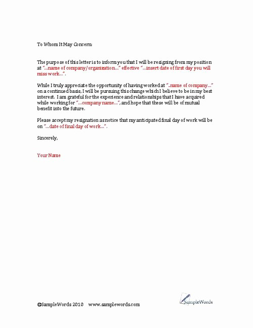Resignation Letter Templates for Word Awesome Resignation Letter Template