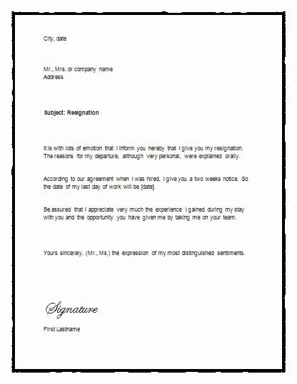 Resignation Letter Templates for Word Best Of Sample Letter Of Resignation with Notice – Resignation Letter