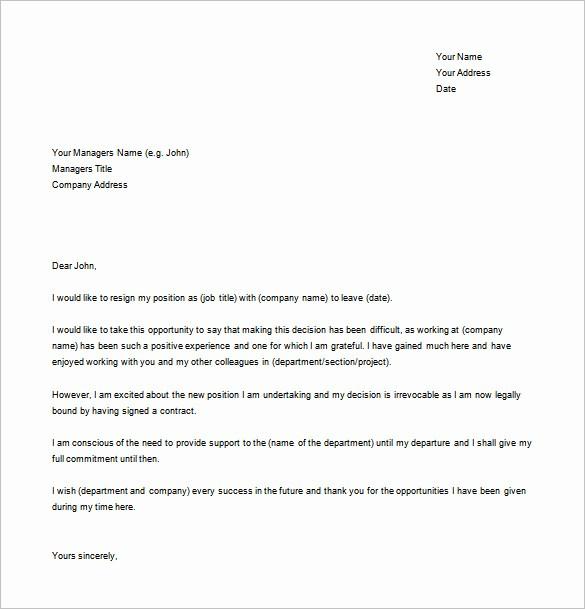 Resignation Letter Templates for Word Elegant Simple Resignation Letter Template – 15 Free Word Excel