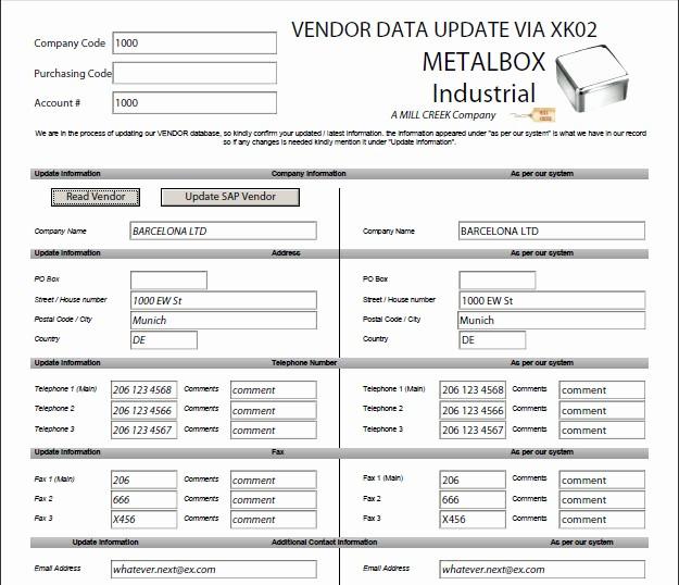 Vendor Information form Template Excel Beautiful Modifier Un Vendeur Xk02 Données Sap