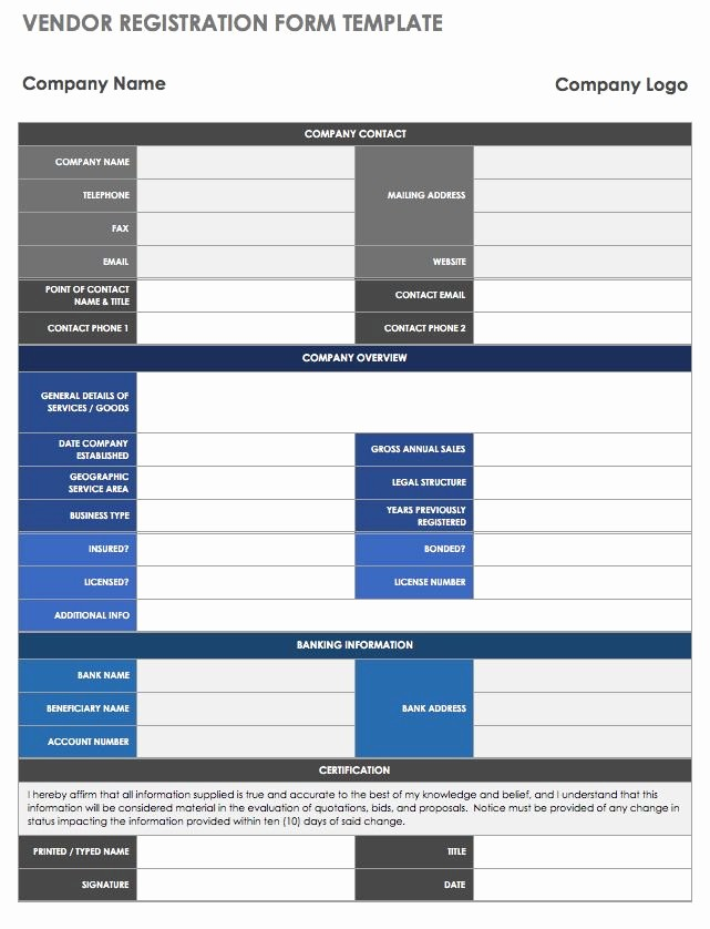 Vendor Information form Template Excel Elegant 13 Free Vendor Templates