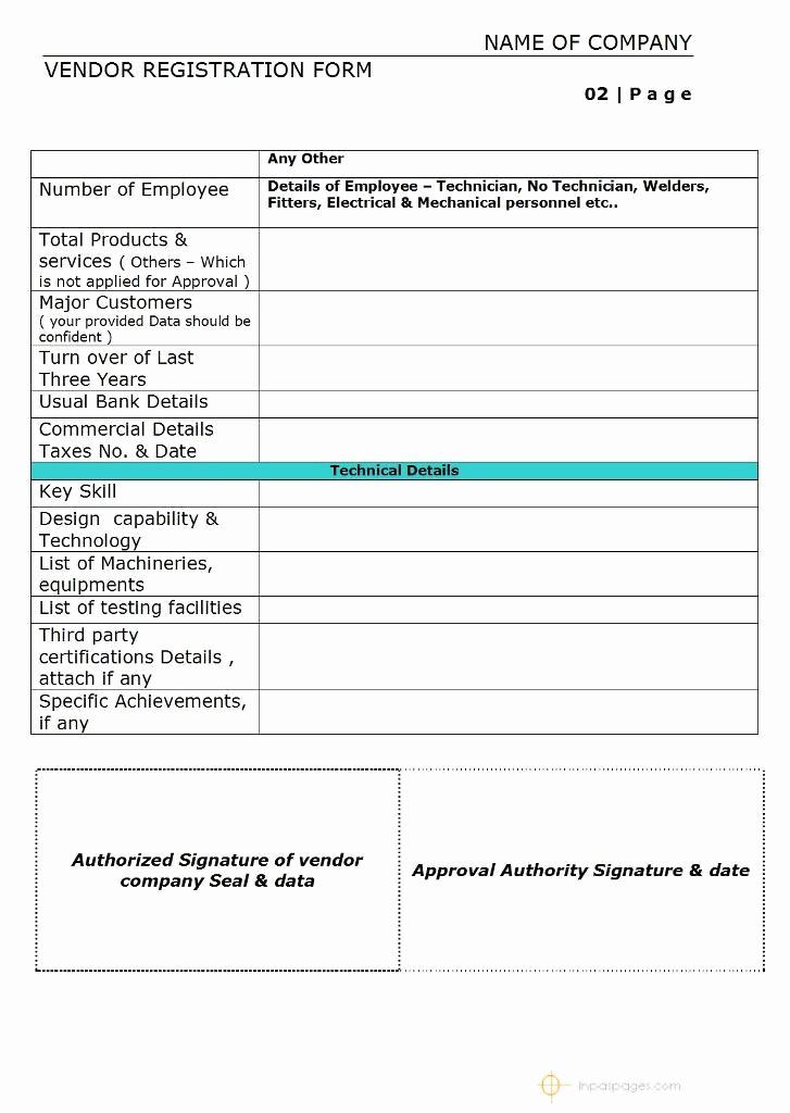 Vendor Information form Template Excel Elegant Vendor Registration form – Simple format