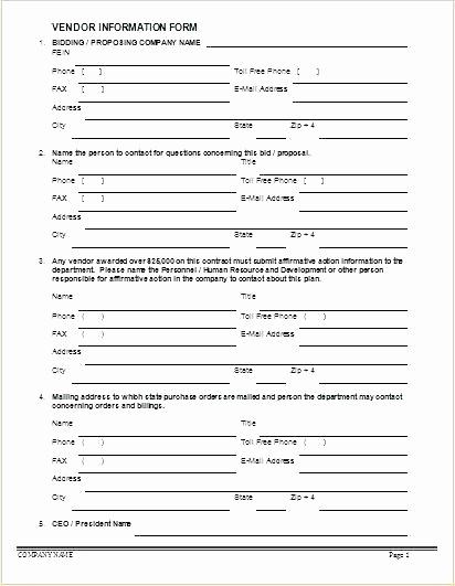 Vendor Information form Template Excel Fresh Personal Information Template Easy Fact Sheet form Sample