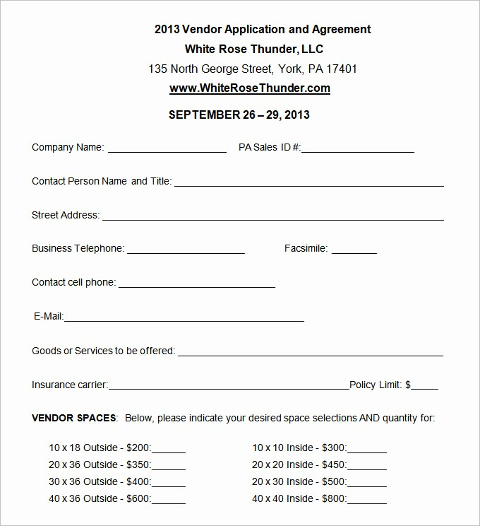 Vendor Information form Template Excel Inspirational Vendor Application Template – 12 Free Word Pdf Documents