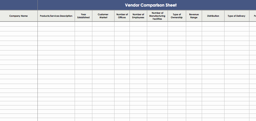 Vendor Information form Template Excel Luxury Vendor Parison Template Excel