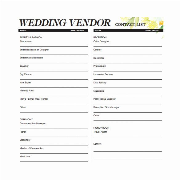 Vendor Information form Template Excel Unique 13 Contact List Templates – Pdf Word