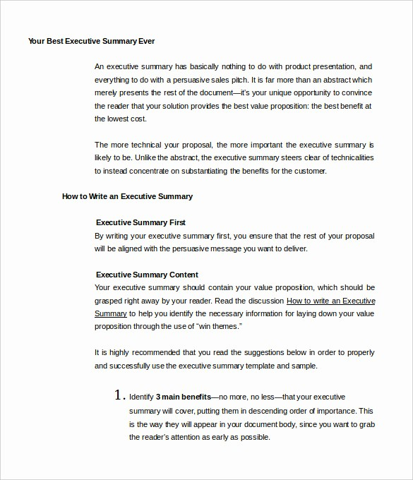 1 Page Executive Summary Example Awesome 31 Executive Summary Templates Free Sample Example