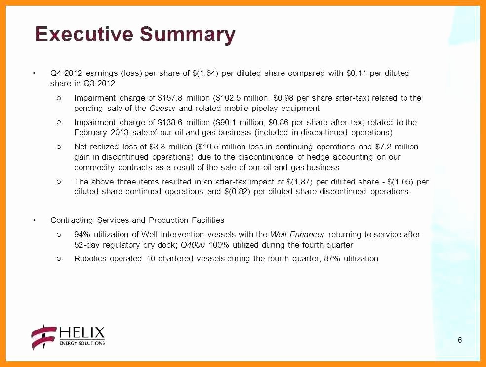 1 Page Executive Summary Example New 9 10 Samples Of Executive Summary Report