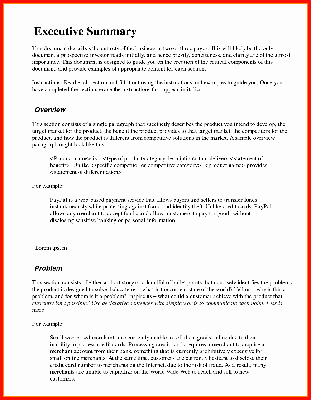 1 Page Executive Summary Template Beautiful Executive Summary Example