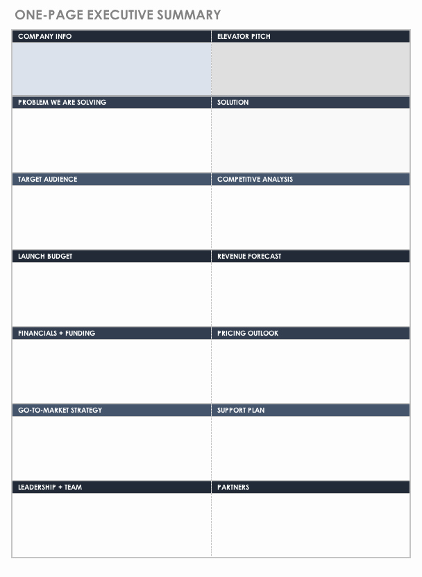 1 Page Executive Summary Template Fresh Free Executive Summary Templates
