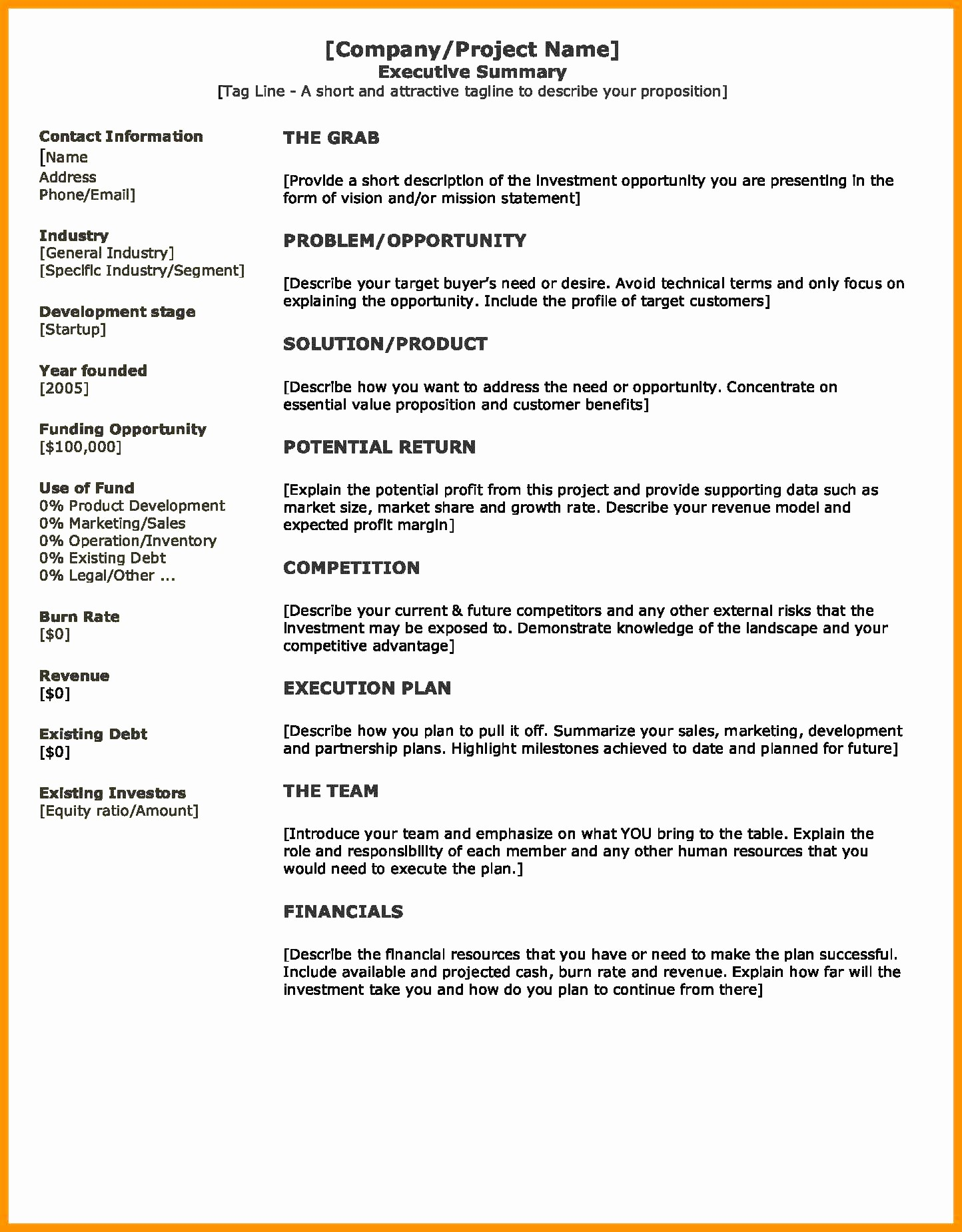 1 Page Executive Summary Template Lovely E Page Executive Summary Sample 6 Band Ible