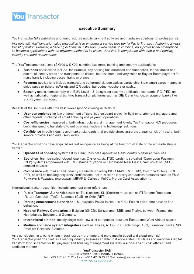 1 Page Executive Summary Template Lovely One Page Executive Summary Template – Arabnormafo