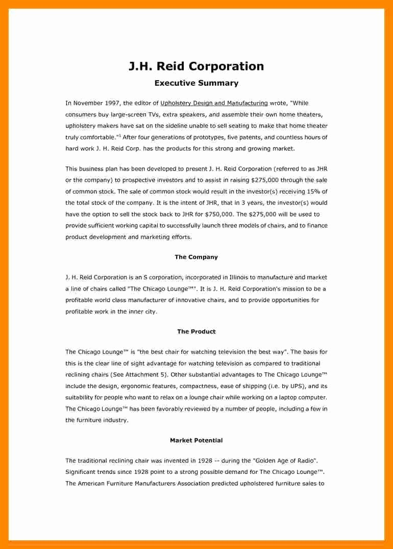 1 Page Executive Summary Template Luxury Qualified E Page Executive Summary Template