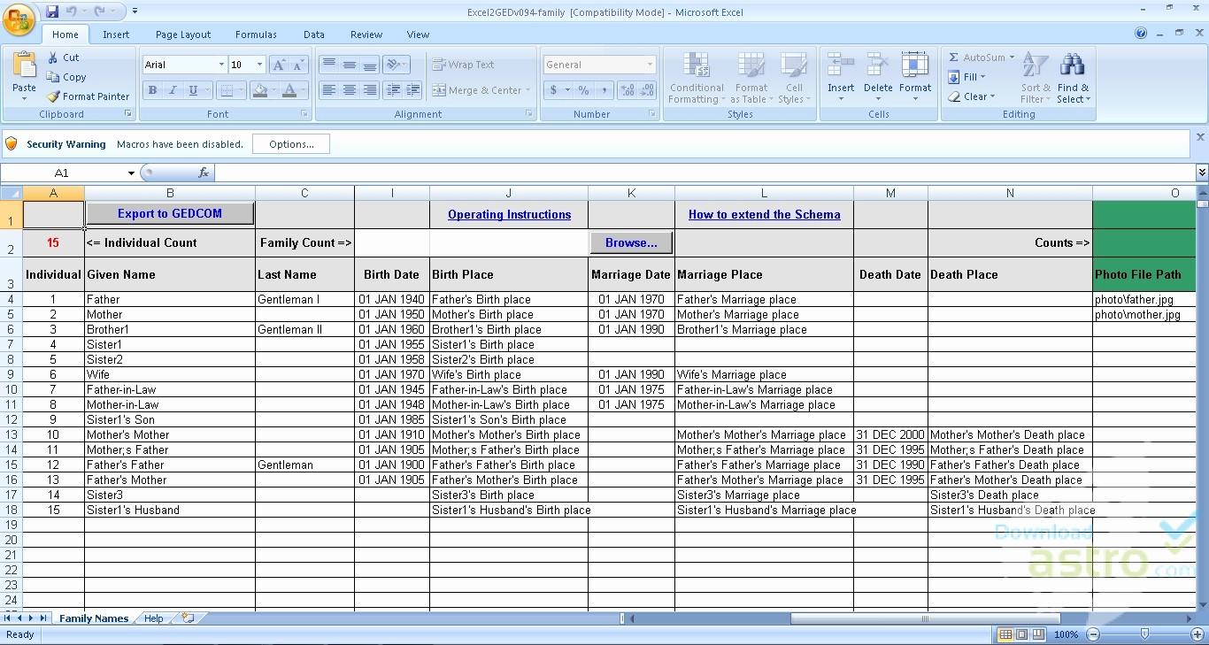 10 Generation Family Tree Excel New Excel2ged Family Xls Hãy Tải Về Miễn Ph Phiên Bản Mới