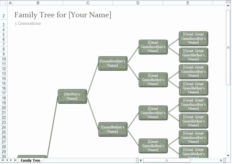 10 Generation Family Tree Excel Unique Ancestry Charts Templates Family Tree Template Excel