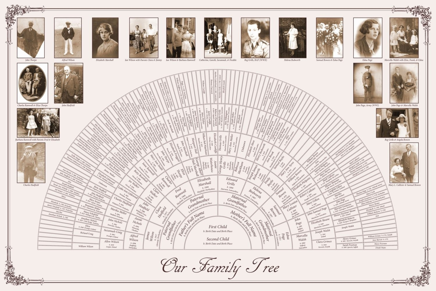 10 Generation Family Tree Template New Custom Family Tree 20x30 8 Generation Fan Chart