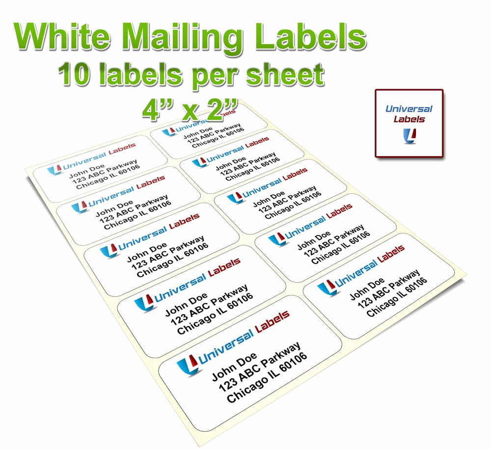 "10 Per Sheet Label Template Beautiful 1000 4""x2"" Shipping Labels 10 Labels Per Sheet Same"