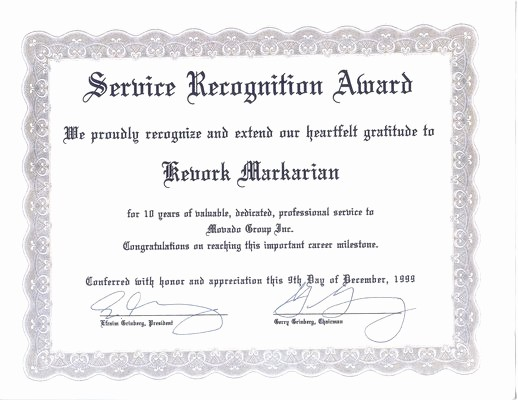 10 Years Of Service Certificate Beautiful 10 Year Service Certificate Template to Pin On