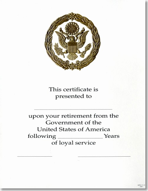 10 Years Of Service Certificate Best Of Opm Federal Career Service Award Certificate Wps 111 A